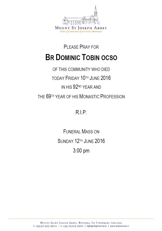 Br Dominic Tobin RIP